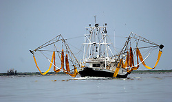 26 May 2010. Barataria Bay to Grand Isle, Jefferson/Lafourche Parish, Louisiana. <br /> A shrimp boat decked out with oil skimming booms east of Grand Isle. The economic impact is devastating with shrimp boats tied up, vacation rentals and charter boat fishing trips are cancelled. Oil from the Deepwater Horizon catastrophe is evading booms laid out to stop it thanks in part to the dispersants which means the oil travels at every depth of the Gulf and washes ashore wherever the current carries it. <br /> Photo credit; Charlie Varley<br /> www.varleypix.com