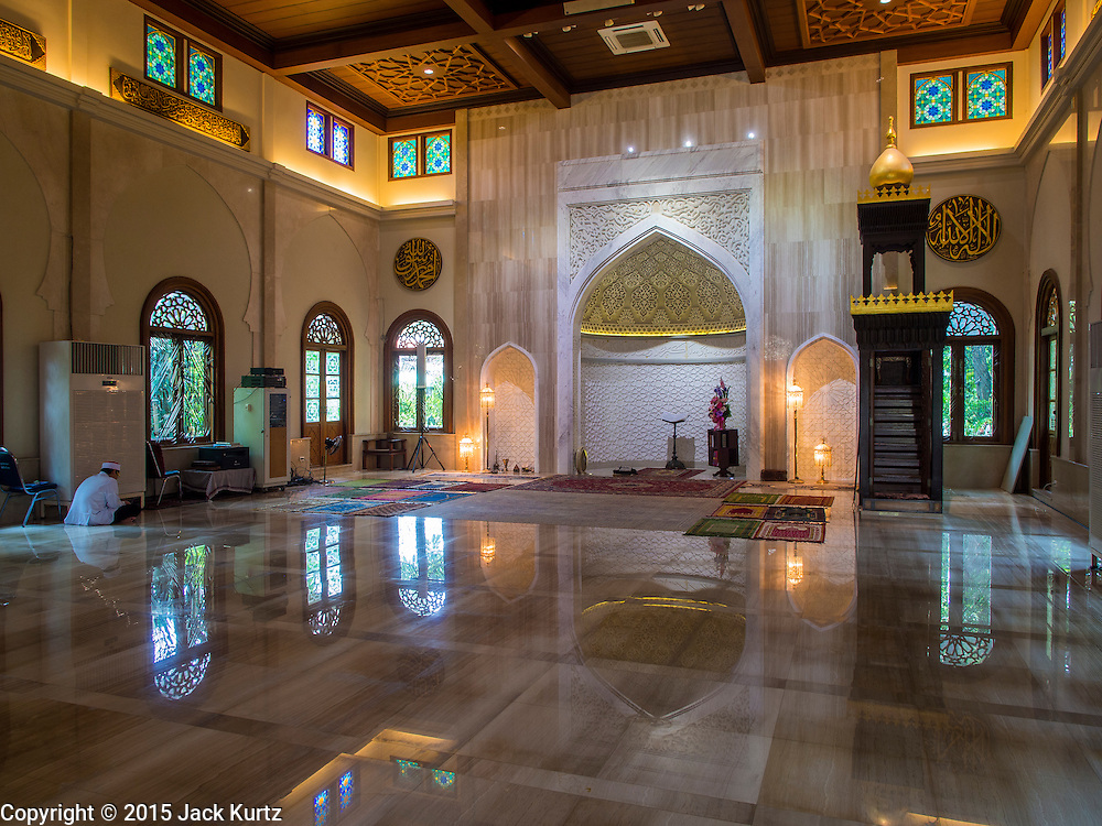 10 APRIL 2015 - BANGKOK, THAILAND: Interior of Masjid Ton Son, the first mosque in Bangkok, founded in 1688 during the reign of King Narai, of the Ayutthaya era. Muslims are about 5 percent of Thailand, but make up a bigger proportion of Bangkok. Thailand's deep south provinces are Muslim majority.    PHOTO BY JACK KURTZ