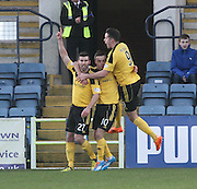 Stefan Scougall and Marc McNulty congratulate Mark Burchill after he had scored the only goal of the game - Dundee v Livingston,  SPFL Championship at Dens Park<br /> <br />  - &copy; David Young - www.davidyoungphoto.co.uk - email: davidyoungphoto@gmail.com