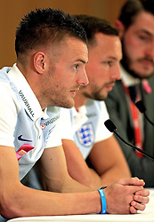 England's Jamie Vardy and Danny Drinkwater (Leicester City) speak to the media - Mandatory byline: Matt McNulty/JMP - 22/03/2016 - FOOTBALL - St George's Park - Burton Upon Trent, England - Germany v England - International Friendly - England Training and Press Conference