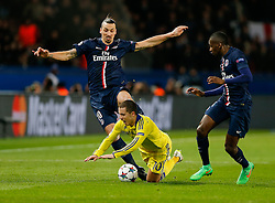 Eden Hazard of Chelsea is challenged by Zlatan Ibrahimovic of Paris Saint-Germain - Photo mandatory by-line: Rogan Thomson/JMP - 07966 386802 - 17/02/2015 - SPORT - FOOTBALL - Paris, France - Parc des Princes - Paris Saint-Germain v Chelsea - UEFA Champions League, Last 16, First Leg.