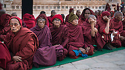 Monks at prayer at the Shwezigon Paya, Bagan, Myanmar