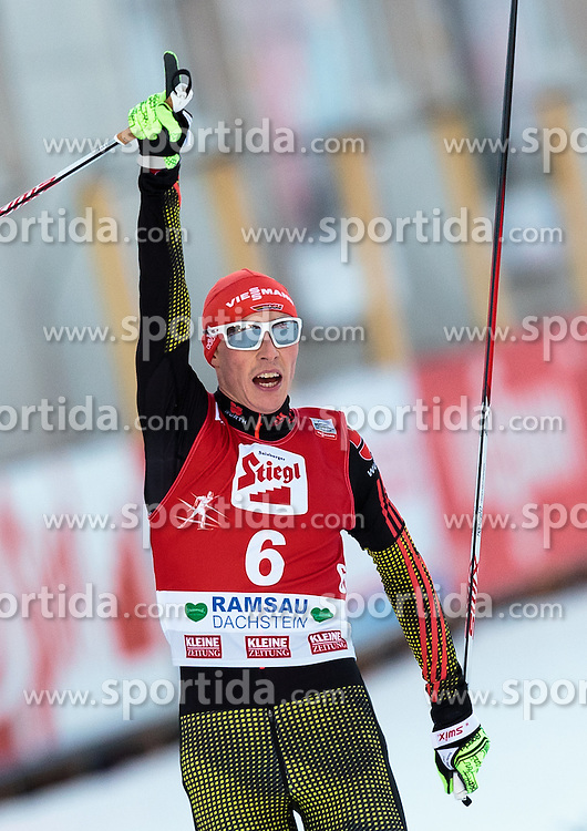 20.12.2015, Nordische Arena, Ramsau, AUT, FIS Weltcup Nordische Kombination, Langlauf, im Bild Sieger Eric Frenzel (GER) jubelt // Eric Frenzel of Germany celebrates his 1st place during Cross Country Competition of FIS Nordic Combined World Cup, at the Nordic Arena in Ramsau, Austria on 2015/12/20. EXPA Pictures © 2015, PhotoCredit: EXPA/ JFK