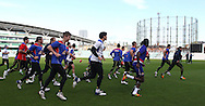 Picture by Paul Terry/SLIK images +44 7545 642257. 1st November 2012. .The Western Bulldogs team during training session ahead of Saturday's Elastoplast AFL European Challenge at Kia Oval in London, UK