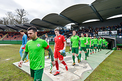 Teams before football match between ND Mura and ND Ilirija 1911 in Round #18 of 2.SNL 2017/18 on March 11, 2018 in Mestni stadion Fazanerija , Murska Sobota , Slovenia. Photo by Mario Horvat / Sportida