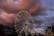 France. Paris. tuileries park  and ferry wheel at sunset  France
