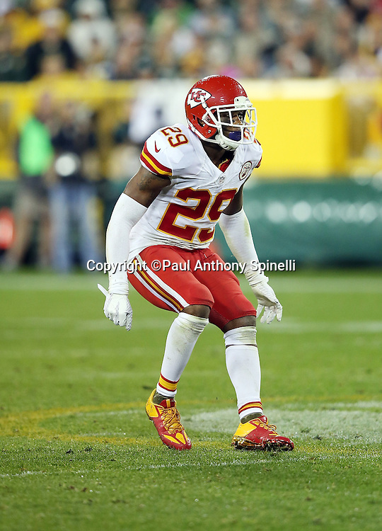 Kansas City Chiefs free safety Eric Berry (29) chases the action during the 2015 NFL week 3 regular season football game against the Green Bay Packers on Monday, Sept. 28, 2015 in Green Bay, Wis. The Packers won the game 38-28. (©Paul Anthony Spinelli)