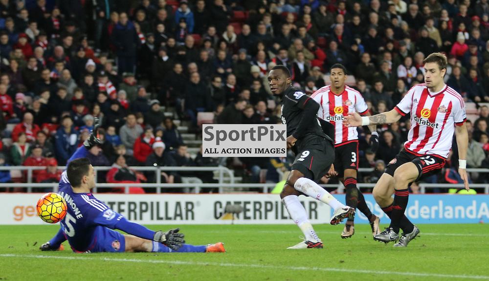 Christian Benteke opens the scoring during the Sunderland FC v Liverpool FC English Premier League 30th March 2015...©Edward Linton | SportPix.org.uk