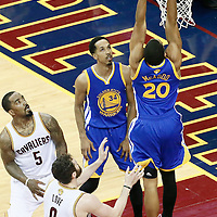 10 June 2016: Golden State Warriors forward James Michael McAdoo (20) goes for the dunk during the Golden State Warriors 108-97 victory over the Cleveland Cavaliers, during Game Four of the 2016 NBA Finals at the Quicken Loans Arena, Cleveland, Ohio, USA.