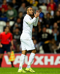 Nathan Redmond of England U21 reacts after missing a chance - Mandatory byline: Matt McNulty/JMP - 07966386802 - 03/09/2015 - FOOTBALL - Deepdale Stadium -Preston,England - England U21 v USA U23 - U21 International