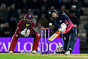 England win - Joe Root of England hits the ball over the boundary for six runs to win the match during the One Day International match between England and West Indies at the Ageas Bowl, Southampton, United Kingdom on 29 September 2017. Photo by Graham Hunt.