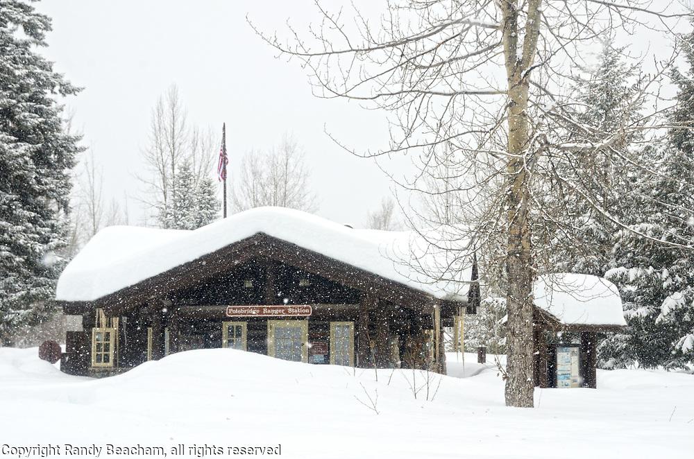 Polebridge Ranger Station during a snowstorm in winter 2017. Glacier National Park, northwest Montana.