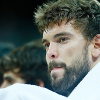 06 August 2012: Spain Marc Gasol is seen on the bench during 88-82 Team Brazil victory over Team Spain, during the men's basketball preliminary, at the Basketball Arena, in London, Great Britain.