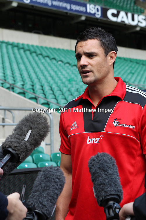 Dan Carter of the Crusaders and New Zealand fly half talks to the press. Crusaders Photocall, Twickenham Stadium, London, 22/03/2011 © Matthew Impey/Wiredphotos.co.uk. tel: 07789 130 347 email: matt@wiredphotos.co.uk