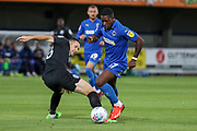 AFC Wimbledon attacker Michael Folivi (17) dribbling during the EFL Trophy (Leasing.com) match between AFC Wimbledon and U23 Brighton and Hove Albion at the Cherry Red Records Stadium, Kingston, England on 3 September 2019.