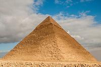 Chephren's Pyramid against a moody sky in Giza, Egypt.