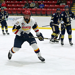 WELLINGTON, ON - JANUARY 11: Zack Uens #7 of the Wellington Dukes pursues the play in the first period on January 11, 2019 at Wellington and District Community Centre in Wellington, Ontario, Canada.<br /> (Photo by Ed McPherson / OJHL Images)