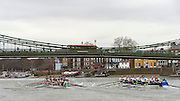 Putney, Great Britain.  CUWBC, left as both crews approach Hammersmith Bridge, during the 2015 Pre Boat Race Fixture, Cambridge University Women's Boat Club vs Imperial College Women's Boat Club, Championship Course, River Thames.  England. <br /> Sunday  08/03/2015 <br /> <br /> [Mandatory Credit; Peter Spurrier/Intersport-images]