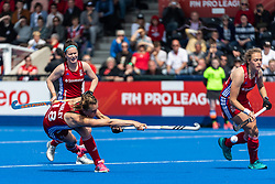 Giselle Ansley of Great Britain Women shoots at a penalty corner during the 2019 Women's FIH Pro League match at Lee Valley Hockey Centre, Stratford<br /> Picture by Simon Parker/Focus Images Ltd <br /> 18/05/2019