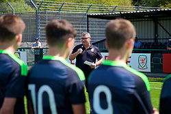 NEWPORT, WALES - Wednesday, July 25, 2018: FAW Trust Technical Director Osian Roberts makes a speech after the Welsh Football Trust Cymru Cup 2018 at Dragon Park. (Pic by Paul Greenwood/Propaganda)