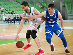 Mirza Begic of KK Petrol Ljubljana and Marko Pajic of KK Rogaska during basketball match between KK Petrol Olimpija and KK Rogaska in 1st Semifinal match of Liga Nova KBM 2017/18, on May 9, 2018, in Arena Stozice, Ljubljana, Slovenia. Photo by Urban Urbanc / Sportida