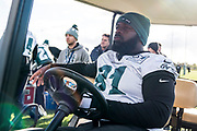 Philadelphia Eagles Fletcher Cox DT (91) sits in a gold buggy during the press, training and media day for Philadephia Eagles at London Irish Training Ground, Hazelwood Centre, United Kingdom on 26 October 2018. Picture by Jason Brown.