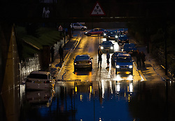 © Licensed to London News Pictures. 06/09/2013<br /> <br /> Saltburn, Cleveland, England<br /> <br /> As darkness falls heavy flooding hits in Saltburn in Cleveland causing the A174 road to be blocked due to the floods.<br /> <br /> Photo credit : Ian Forsyth/LNP