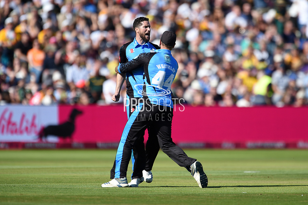 Wayne Parnell and Ross Whiteley of Worcestershire Rapids celebrate winning the first semi final and beating Notts Outlaws by 1 run during the Vitality T20 Finals Day 2019 match between Notts Outlaws and Worcestershire Rapids at Edgbaston, Birmingham, United Kingdom on 21 September 2019.