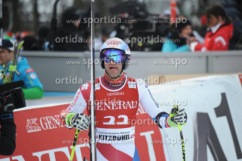 23.01.2015, Streif, Kitzbuehel, AUT, FIS Ski Weltcup, Supercombi Super G, Herren, im Bild Didier Defago (SUI) // Didier Defago of Switzerland reacts after his run of the men's Super Combined Super-G of Kitzbuehel FIS Ski Alpine World Cup at the Streif Course in Kitzbuehel, Austria on 2015/01/23. EXPA Pictures © 2015, PhotoCredit: EXPA/ Erich Spiess