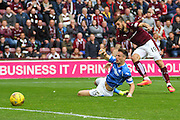 Juanma Dalgado shoots through  defender Brad McKay and scores during the Ladbrokes Scottish Premiership match between Heart of Midlothian and St Johnstone at Tynecastle Stadium, Gorgie, Scotland on 2 August 2015. Photo by Craig McAllister.