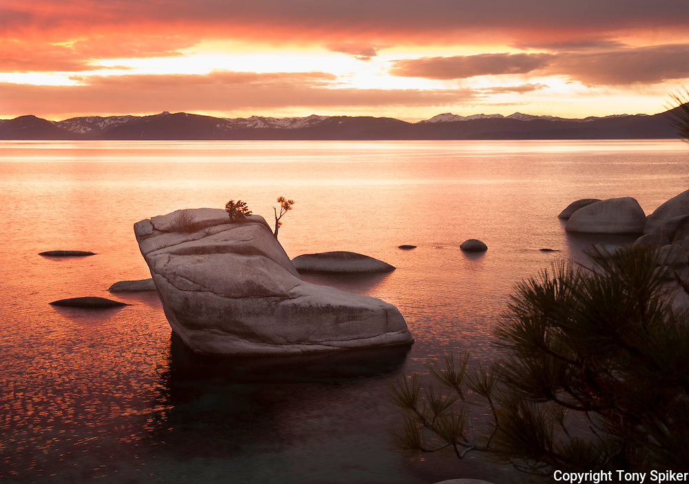 """Bonsai Rock Sunset 8"" - A landscape photograph of sunset over Lake Tahoe taken at Bonsai Rock"