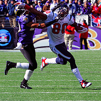 15 January 2012: Houston Texans wide receiver Andre Johnson (80) pulls in a pass against Baltimore Ravens free safety Ed Reed (20) in the Divisional Playoff at M&T Bank Stadium in Baltimore, MD. The Ravens defeated the Texans 20-13 to advance to the AFC Championship game..