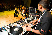 DJ mixing for a dancer performing on stage. UK B-Boy championships 06. 08/10/2006