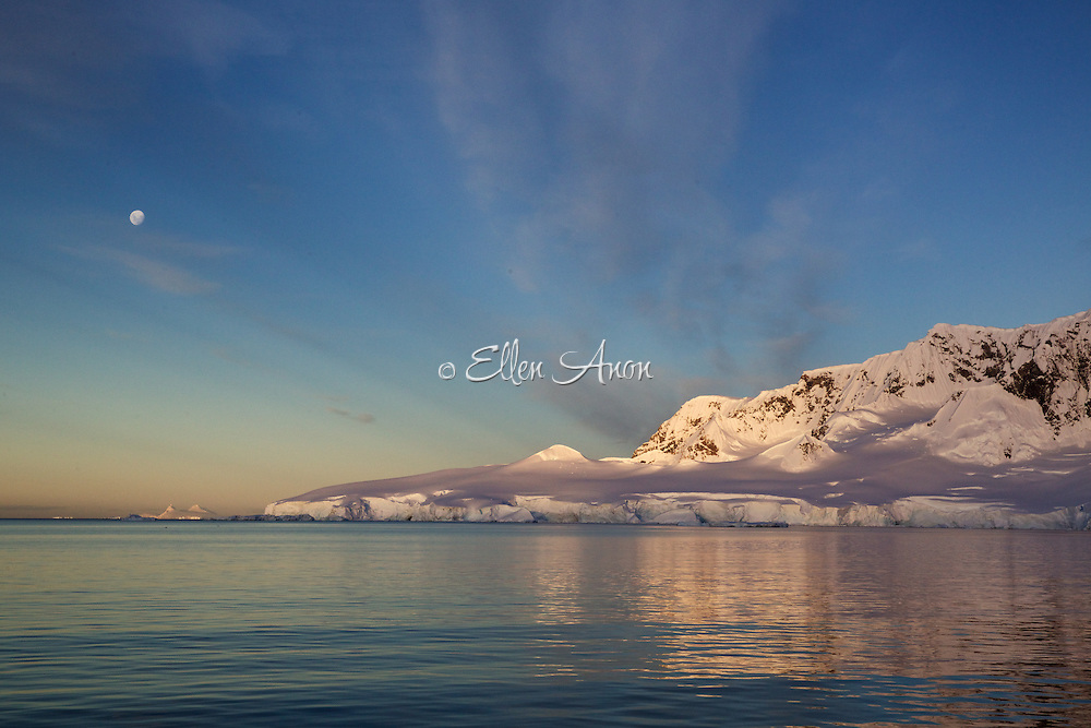 full moon at sunset, Wilhelmina Bay, Antarctica