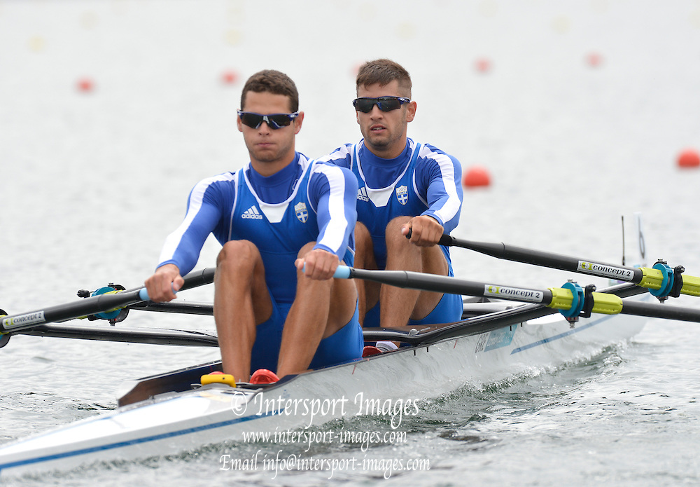 Eton Dorney, Windsor, Great Britain,..2012 London Olympic Regatta, Dorney Lake. Eton Rowing Centre, Berkshire[ Rowing]...Description;   GRE LM2X.  Bow. Eleftherios KONSOLAS and Panagiotis MAGDANIS,  move away from the start of their Repechage, Dorney Lake. 10:35:05  Tuesday  31/07/2012 [Mandatory Credit: Peter Spurrier/Intersport Images]  .