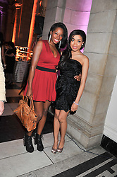 Left to right, JAMELIA and DIONNE BROMFIELD at the 50th birthday party for Jonathan Shalit held at the V&A Museum, London on 17th April 2012.