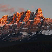 Castle Mountain at Sunrise in the Winter