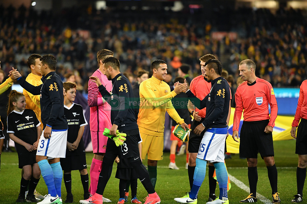 June 13, 2017 - Melbourne, Victoria, Australia - TIM CAHILL (4) of Australia and PAULINHO (15) of Brazil shake hands for an international friendly match between Brazil and Australia at the Melbourne Cricket Ground on June 13, 2017 in Melbourne, Australia. Brazil won 4-0 (Credit Image: © Sydney Low via ZUMA Wire)