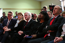© Licensed to London News Pictures. 04/04/2017. Newark, UK. Shadow cabinet ministers L-R Tom Watson, Angela Rayner, John McDonnell, Diane Abbott and John Healey watch as Labour leader Jeremy Corbyn speaks at a meeting in Newark to outline the party's aims in the upcoming local elections. Photo credit : Ian Hinchliffe/LNP