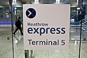 The train station at London Heathrow Airport Terminal 5.
