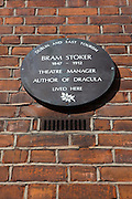 Plaque on house at 30 Kildare Street, where Dracula author Bram Stoker once lived.