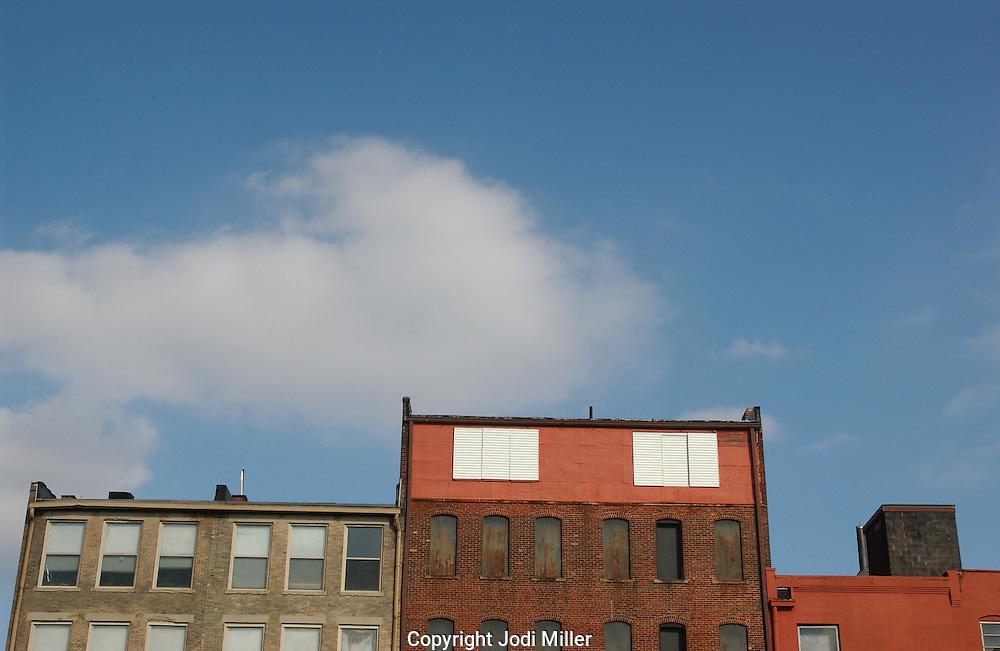 Brick building tops in Columbus, Ohio.