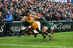 Zach Kibirige of Wasps is tackled by Ben White of Leicester Tigers to prevent a try - Mandatory by-line: Arron Gent/JMP - 15/02/2020 - RUGBY - Welford Road Stadium - Leicester, England - Leicester Tigers v Wasps - Gallagher Premiership Rugby