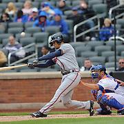 Andrelton Simmons, Atlanta Braves, batting during the New York Mets Vs Atlanta Braves MLB regular season baseball game at Citi Field, Queens, New York. USA. 23rd April 2015. Photo Tim Clayton