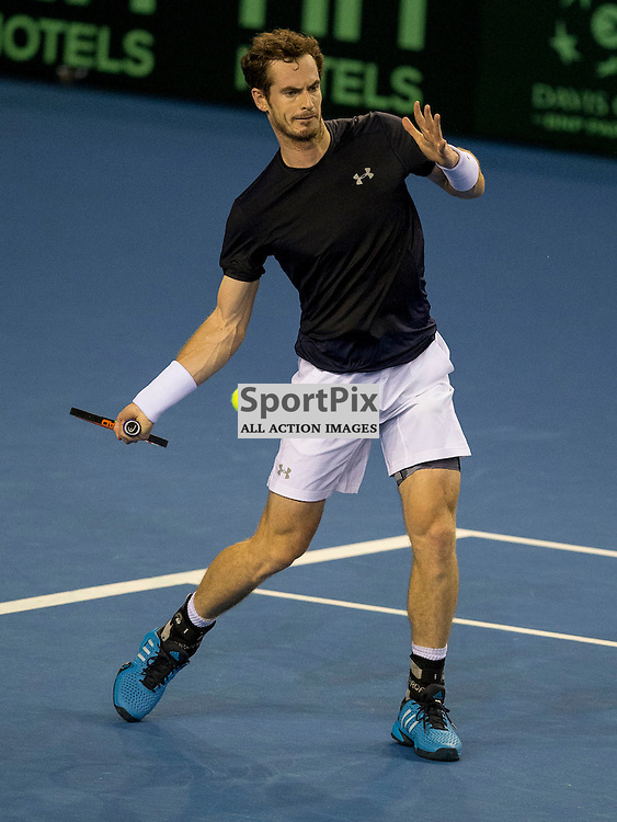 Davis Cup semi-final: Great Britain v Australia<br /> <br /> Andy Murray v Thanasi Kokkinakis during Friday's opening singles Match.<br /> <br /> <br /> Picture: Alan Rennie