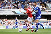 Barnsley midfielder Adam Hammill shields the ball from Ipswich Town midfielder Cole Skuse during the EFL Sky Bet Championship match between Ipswich Town and Barnsley at Portman Road, Ipswich, England on 6 August 2016. Photo by Nigel Cole.