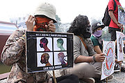 INDONESIA, Palembang : 15 September 2015 Indonesia activists in action protests the goverment of Indonesia for complete problem about forest fires. Forest fires in Sumatra and Borneo that have caused widespread haze in Southeast Asia. Pic by Hairul Akbar / Story Picture Agency