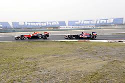 15.04.2011, Shanghai-International-Circuit, Schanghai, CHN, Großer Preis von China / Schanghai 2011, RACE 03 freies Training, im Bild  Jerome De Ambrosio (BEL) Marussia Virgin Racing Team - Sebastien Buemi (SUI),  Scuderia Toro Rosso    EXPA Pictures © 2011, PhotoCredit: EXPA/ nph/  Dieter Mathis (bitte als Fotovermerk angeben)       ****** only for AUT & SLO ******