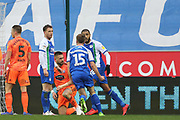 Wigan's Joe Garner scores during the EFL Sky Bet Championship match between Wigan Athletic and Ipswich Town at the DW Stadium, Wigan, England on 23 February 2019.