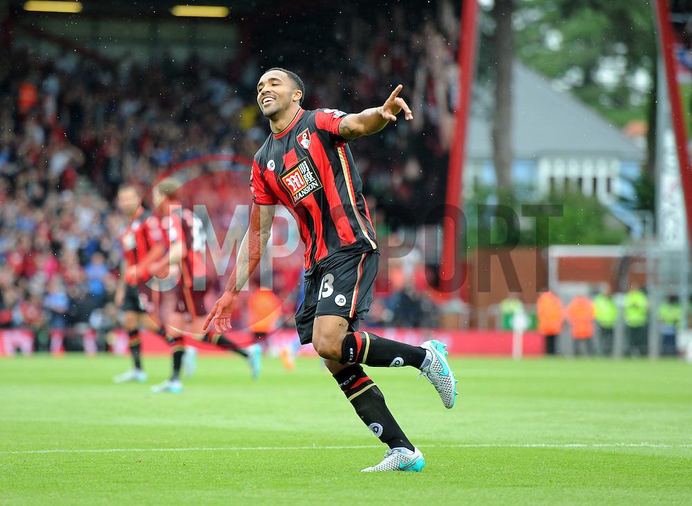 Callum Wilson of Bournemouth celebrates his goal. - Mandatory byline: Alex James/JMP - 07966386802 - 29/08/2015 - FOOTBALL - Dean Court -Bournemouth,England - AFC Bournemouth v Leicester City - Barclays Premier League